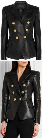 Double-Breasted Leather Blazer - DESIGNER INSPIRED FASHIONS