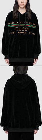 Oversized Velvet Sweatshirt with Embroidery | DESIGNER INSPIRED FASHIONS