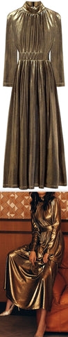 Pleated Metallic Gown | DESIGNER INSPIRED FASHIONS