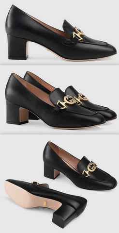 Zumi Leather Mid-Heel Loafers, Black