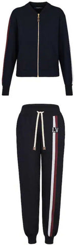 Travel Kit Zip-up Sweater with Logo Stripe Pants | DESIGNER INSPIRED FASHIONS