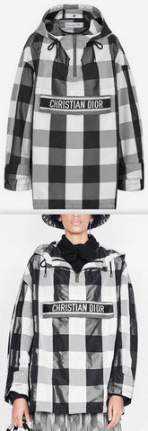 Hooded Anorak in Taffeta with Check Motif, White/Black
