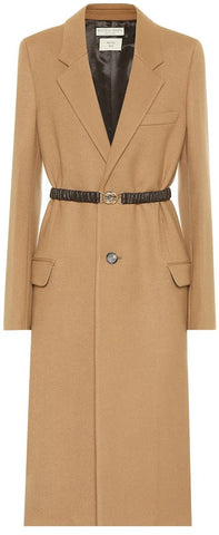 Belted Single-Breasted Coat, Beige