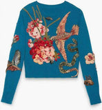 Blue Embroidered Knit Sweater - DESIGNER INSPIRED FASHIONS