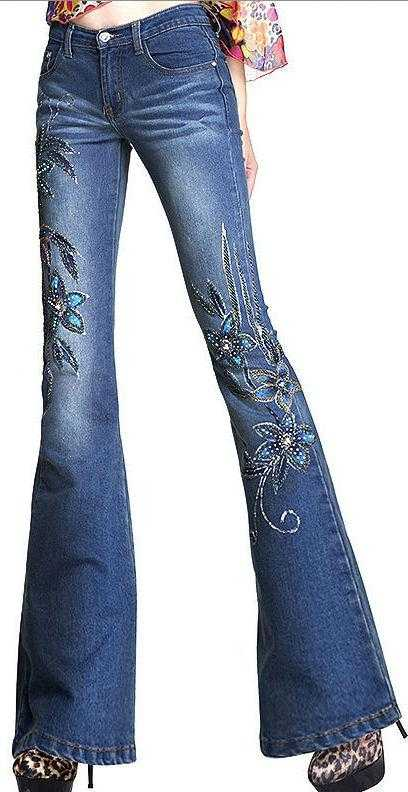 Embellished Floral Faded Denim Jeans - DESIGNER INSPIRED FASHIONS