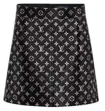 Monogram Printed Leather Biker Skirt | DESIGNER INSPIRED FASHIONS