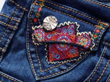 Embellished Faded Bell-Bottom Jeans - DESIGNER INSPIRED FASHIONS