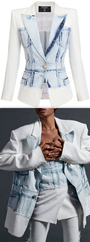 Denim-Trim Cotton Blazer | DESIGNER INSPIRED FASHIONS
