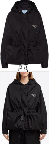 Black Oversized Drawstring Zipped Jacket