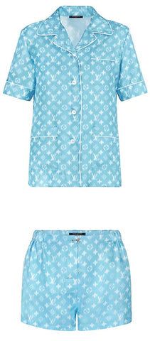 Monogram Short-Sleeve Pajama Top and Short Set