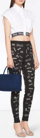 Boxy Fit Cropped Shirt and Crystal Embellished Logo Leggings *Low Stock*