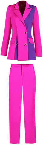 Color-Contrast Blazer and Pant Suit