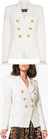 Double-Breasted Blazer, White