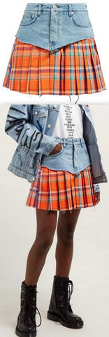 Denim and Tartan Kilt Skirt
