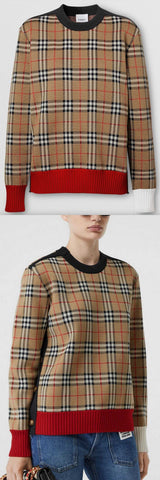 Button Detail Check Technical Wool Jacquard Sweater | DESIGNER INSPIRED FASHIONS