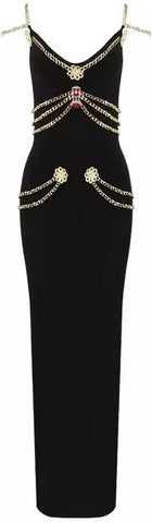 Chain and Applique Embellished Gown | DESIGNER INSPIRED FASHIONS