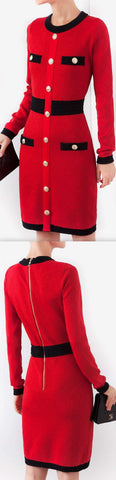 Two-Toned Button-Embellished Knit Dress | DESIGNER INSPIRED FASHIONS