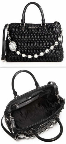 Crystal-Accented Matelasse Leather Satchel, Black | DESIGNER INSPIRED FASHIONS