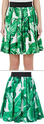 Foliage-Print Flared Skirt - DESIGNER INSPIRED FASHIONS