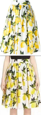 Lemon Print Pleated Skirt - DESIGNER INSPIRED FASHIONS