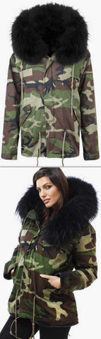 'Camo' Fur Parka Jacket-Black - DESIGNER INSPIRED FASHIONS
