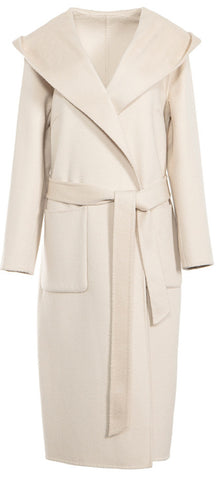 Hooded Wool Wrap Coat, White or Brown