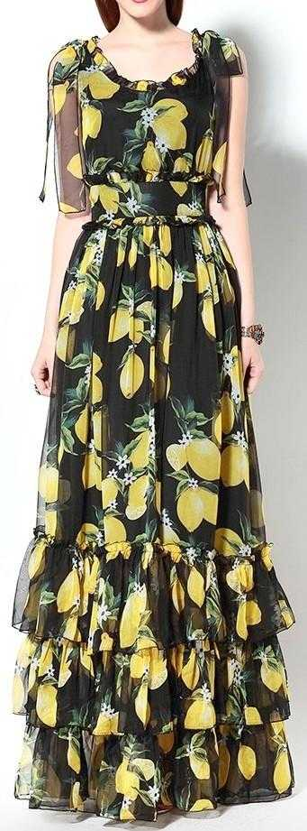 Lemon Print Tiered Long Maxi Dress in Black - DESIGNER INSPIRED FASHIONS