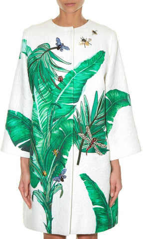 Banana Leaf Embellished Brocade Coat | DESIGNER INSPIRED FASHIONS