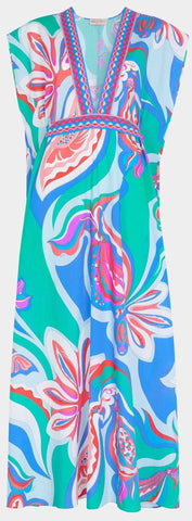 'Badea' Print Deep V-neck Seersucker Dress