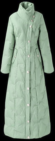 Padded Long Mint Green Snap-Button Padded Coat