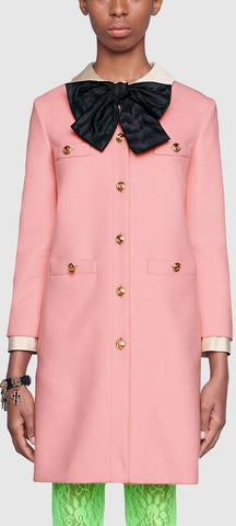 Pink Wool Coat with Bow