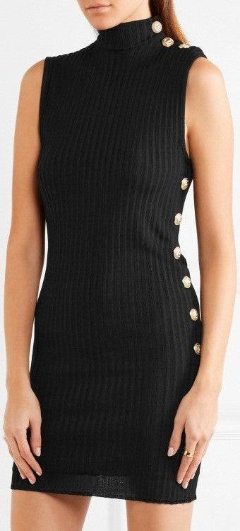 Black Ribbed Stretch-Knit Mini Dress - DESIGNER INSPIRED FASHIONS