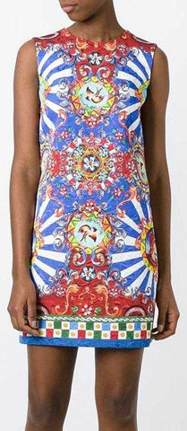 'Carretto' Print Sleeveless Shift Dress, Red/Yellow/Blue - DESIGNER INSPIRED FASHIONS