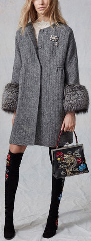 Fur-Cuff Embellished Coat