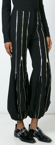 Black Multi Zip Pants