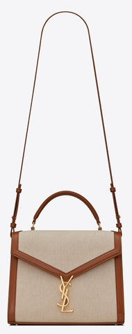 'Cassandra' Medium Top Handle Bag in Canvas and Smooth Leather