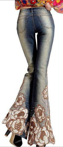 Embellished Light Faded Flare Jeans | DESIGNER INSPIRED FASHIONS