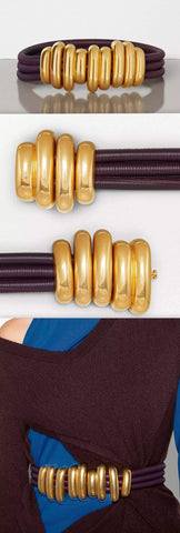 Multi-Strand Rolled Leather Belt with Gold Hardware, Iris