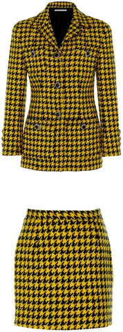 Wool-Blend Pied De Poule Tweed Jacket and Skirt Set | DESIGNER INSPIRED FASHIONS