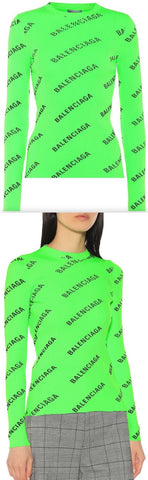 Logo Printed Ribbed Knit Sweater, Neon Green | DESIGNER INSPIRED FASHIONS