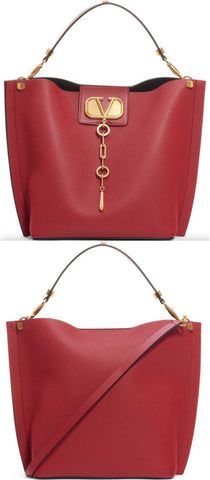 Go Logo Escape Leather Hobo Bag, Red | DESIGNER INSPIRED FASHIONS