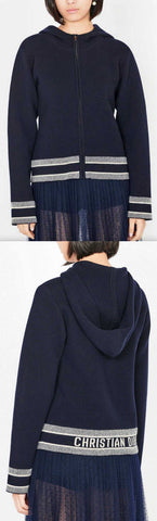 Oversized Navy Blue Fantaisie Jacquard Travel Knit Cardigan | DESIGNER INSPIRED FASHIONS