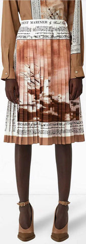 'Mariner' Print Pleated Cady Skirt | DESIGNER INSPIRED FASHIONS