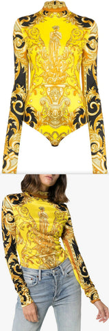 Baroque Print Fitted Bodysuit | DESIGNER INSPIRED FASHIONS