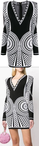 Knitted Geometric Pattern Dress | DESIGNER INSPIRED FASHIONS
