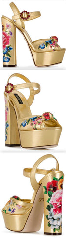 Platform Sandals in Printed Mordore Nappa Leather Gold | DESIGNER INSPIRED FASHIONS