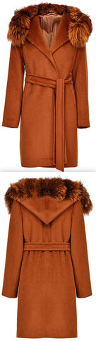 Fox Fur Hooded Wool Wrap Coat, Caramel | DESIGNER INSPIRED FASHIONS