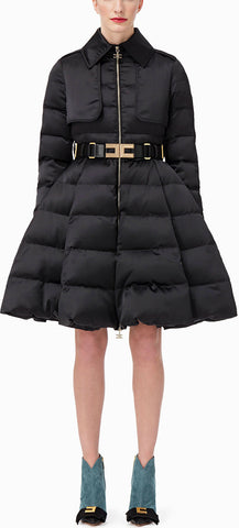 Black Quilted Coat with Belt