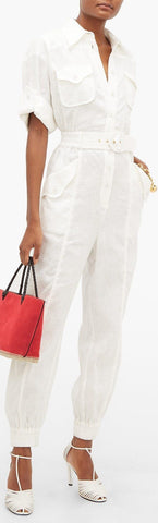 'Super 8' Jumpsuit, White