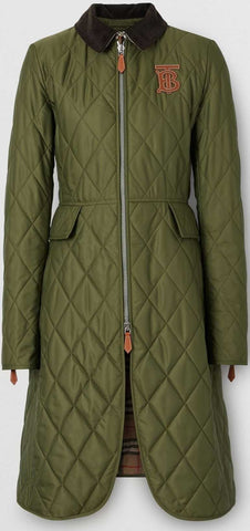 Monogram Motif Quilted Riding Coat, Utility Green | DESIGNER INSPIRED FASHIONS